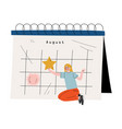 young woman sitting near big calendar and planning vector image