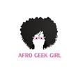 afro geek girl logo vector image