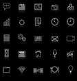Application line icons with reflect on black vector image vector image