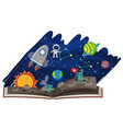 astronomy book with astronaut and aliens vector image vector image