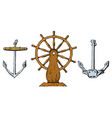 boat s wheel and sea anchor marine sketch vector image vector image