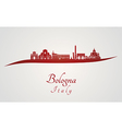 Bologna skyline in red vector image vector image