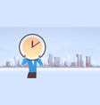 businesswoman holding clock in front face vector image vector image