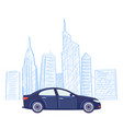 car cityscape drawing sketch skyscrapers vector image