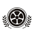 car wheel award in monochrome with olive branch vector image vector image