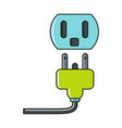 cartoon plug and socket icon on white background vector image vector image