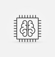 chip with brain icon in thin line style vector image vector image