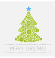 Christmas tree from green buttons Merry Christmas vector image vector image