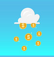 cloud and money rain vector image vector image