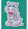 Cute hippo sitting on floor vector image