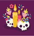 day dead catrinas and candles with flowers vector image vector image
