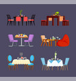 design serving table dishes and food vector image vector image