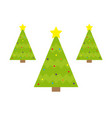 fir-tree icon set yellow star tip top round ball vector image