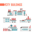 five city industrial buildings set of icons vector image vector image