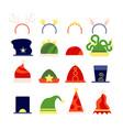 flat christmas hats elf xmas accessory santa vector image vector image