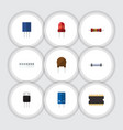 flat icon technology set of microprocessor vector image vector image