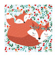 fox mom and baby in seamless pattern adorable vector image vector image
