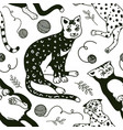 funny cats seamless pattern or background cute vector image