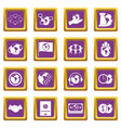 global connections icons set purple vector image vector image
