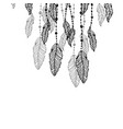 hanging black and grey stylized doodle feathers vector image vector image