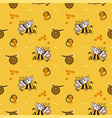 happy cartoon cow bee honey hive seamless pattern vector image vector image