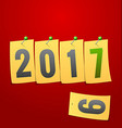 Happy New Year 2017 Greeting card Yellow note vector image