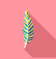 hipster feather icon flat style vector image