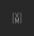 Hipster letter M logo monogram mockup thin line vector image vector image