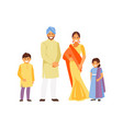indian family in traditional dress vector image vector image