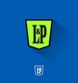 l p letter monogram heraldic shield vector image vector image