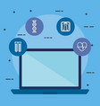 laptop with telemedicine icons vector image