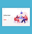 lovers couple friend sit at table drink coffee vector image