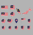 malaysia flag icons set symbols flag of vector image vector image