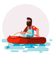man in boat caching a fish vector image vector image