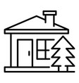 mountain wood house icon outline style vector image