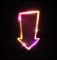 neon arrow banner isolated on black brick wall vector image vector image