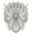 peacock coloring vector image vector image