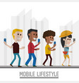 people with smartphone in the hand and lifestyle vector image vector image