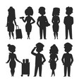 pilots and stewardess silhouette vector image