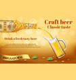 realistic promotion banner for beer brand vector image vector image