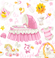 Seamless girls pattern of cribs toys and stuff vector image vector image
