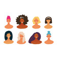 set female avatars with shoulders in a flat vector image
