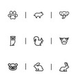 set of 9 editable zoo icons includes symbols such vector image vector image
