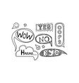 set of hand drawn speech bubbles with text vector image vector image
