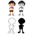 set thai boy character vector image vector image