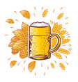 shield beer mug with hop branches vector image