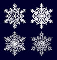 snowflakes collection isolated on dark background vector image