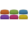 Sofa in six different colors vector image vector image