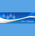 stylish blue merry christmas banner design vector image