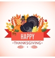 Thanksgiving greeting card in flat style vector image